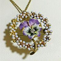 "Antique Victorian 14K GOLD & Diamond 1"" Pansy Brooch Pendant w/14K Chain - 6.35g"