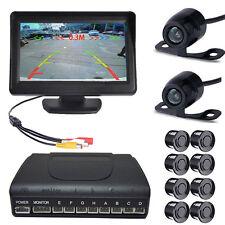 """Car 4.3"""" TFT Monitor + 8 Parking Sensors w Rear view Camera & Front View Camera"""