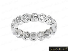 Ladies Bezel Set Diamond Bridal Eternity Band Ring 10k White Gold 0.90ct