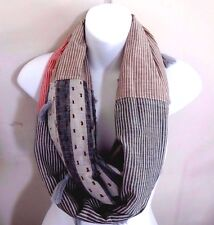 Infinity scarf striped pattern fabrics circle gray brown red white tassels DY