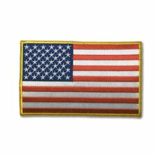 """Embroidered 5"""" American US Flag Yellow Border Sew or Iron on Patch Biker Patch"""