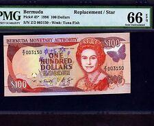 Bermuda 100 Dollars 1996 P-45 * PMG Gem Unc 66 EPQ * Replacement *
