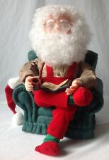 Santas Best Animated Santa Claus in Arm Chair w Pipe and List