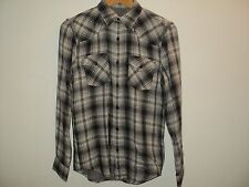 NEW 7 For All Mankind Men's Shirt Size S SMALL Black & Gray Plaid Long Sleeves