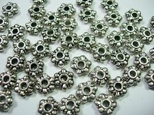 50 8mm Daisy Spacer Beads Silver Tone