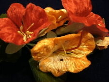 Vintage Millinery Flower Velvet Nasturtium Bunch Trim for Hat Orange Red NL9