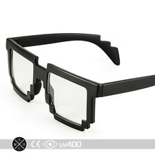 Matte Black Trendy Party Clear Lens 8-Bit Pixelated Glasses 8 Bit FREE Case S061