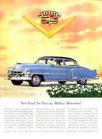 1952 Cadillac PRINT AD Illustrated Blue 2-Door Caddy icon