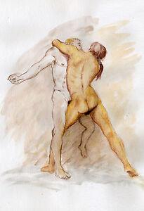 Painting NUDE men male watercolor Esteban COMBAT 1/14/50 #ArtofEsteban  Signed