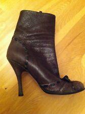 W NEU Original PRADA Stiefeletten NP€740 High Heels braun Schleife 41 Stilettos