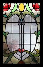 Splendid Rare Amazing Art Nouveau Roses Antique English Stained Glass Window