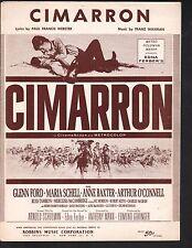 Cimarron 1961 Glenn Ford Anne Baxter Sheet Music