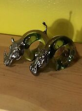 Hippo boar handmade pewter glass napkin ring holders wildlife art sculptures