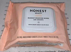 Honest Beauty Makeup Remover Wipes (30 Count) w/Grape Seed & Olive Oils 4 Travel