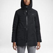 Women's Nike Down Fill Hooded Parka Jacket Black 805080-010 NSW Aeroloft Tech 3M