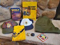 Vintage Cub Scout Lot of 9 items Hats, Clothing, Books, Patch, Neckerchief slide
