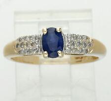Diamond sapphire ring yellow gold 1 oval 24 round encrusted .70CT sz7 birthstone