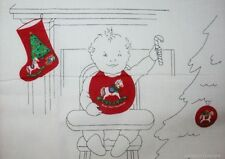 Baby's First Christmas Stocking Bib Set 100% Cotton Fabric Sewing Material Panel