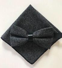 Coffret Noeud papillon et Pochette assortie Gris chiné finition cuir laine
