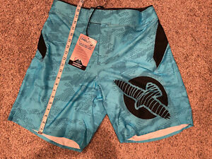 Hayabusa Weld3 MMA Fight Shorts Mens Blue Tag 36 / Fit Size 33 34 Non Elastic