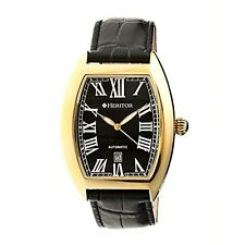 NEW Heritor HR2204 Mens Redmond Black Dial Leather Gold-Tone Case Fashion Watch