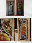 PAIR_VINTAGE STAINED GLASS w MEDIEVAL FIGURES