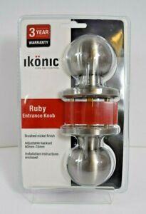 Ikonic Ruby Entrance Door Knob 60mm - 70mm Adjustable Set Brass Chrome Nickel