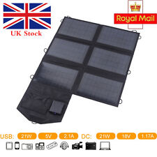21W Solar Panel Folding Portable Power Dual-Port USB Camping Travel Phone Charge