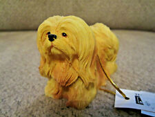 "New labeled Lhasa Apso dog ornament figurine 4"" resin"