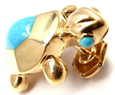 Rare! Authentic Cartier 18k Yellow Gold Turquoise Turtle Tie Lapel Pin