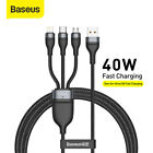 Baseus 3 in 1 USB to Type-C Micro-USB Data Cord  Fast Charging Lead for iPhone