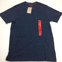NEW Levi's Men's V-Neck Short Sleeve T-Shirt Single Pocket Heather Blue Medium