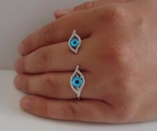 EVIL EYE DOUBLE FINGER RING W LAB DIAMONDS / 925 STERLING SILVER / SZ 9 & 10