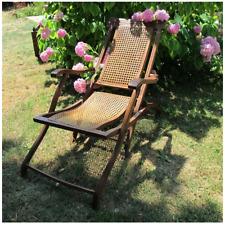 Chaise longue cannée pliante fin XIX e/ début XX e , Chilienne ancienne