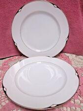 Oscar De La Renta Aegean Dinner Plates Set of 2 Gold Trim Black Accents Japan