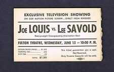 VERY RARE 1951 JOE LOUIS vs LEE SAVOLD boxing ticket ex+ cond boxer Brown Bomber