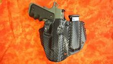HOLSTER WITH EXTRA MAG BLACK CARBON KYDEX FITS Kimber Warrior OWB
