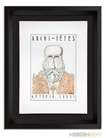Antoni GAUDI ORIGINAL Lithograph by Louis Hellman *Signed +Archival Custom FRAME