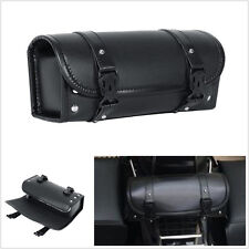 Black PU Leather Motorcycle ATV Round Barrel Storage Pouch Tool Bag 300*85*125mm