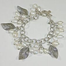Silpada B1631 Freshwater Pearl Leaf Cha Cha Bracelet .925 Sterling Silver Charm