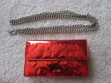 Marc Jacobs Lim Ed RED MIRROR CHROME Clutch Wallet Purse Bag Chain Crossbody