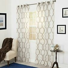 Lavish Home Elisa Emboidered Curtain Panel - 84 Inch - Taupe