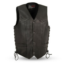 Men's Leather Motorcycle Vest with Gun Pockets Size Large