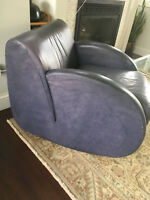 Vintage Mid Century Modern Style Leather Rocking Chair