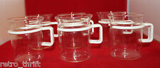 Bodum Bistro Short Hot Iced Clear Glass Coffee Tea Mug Cup Set of 6 White Handle
