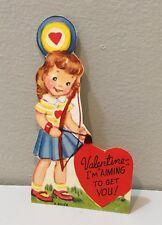 Vtg Valentine Card Little Girl Bow & Arrow