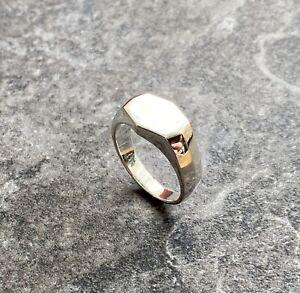 Genuine 925 Sterling Silver Signet Ring Mens Gents Size V