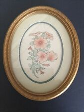 Home Interiors, Wall Hanging 14� X 11� Peach/Pink Oval Picture Of Flowers