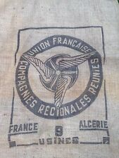 UNION FRANCAISE DESIGN  FRENCH HESSIAN  COFFEE SACK   GREAT FOR CRAFT