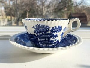Blue Tower Spode Cup and Saucer Gadroon
